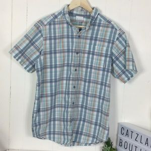 Columbia plaid button up shirt M